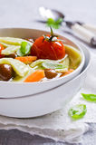 Soup with homemade pasta Royalty Free Stock Photography