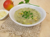 Soup with horseradish and apple Royalty Free Stock Photography