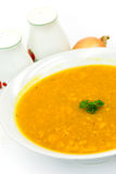 Soup - hot pot of green pea,carrots and pumpkin Stock Image