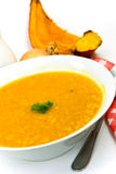 Soup - hot pot of green pea,carrots and pumpkin Royalty Free Stock Image