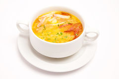 Soup i den vita plattan Royaltyfri Fotografi