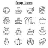 Soup icon set in thin line style Royalty Free Stock Photography