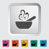 Soup icon. Soup. Single flat icon on the button. Vector illustration Stock Image