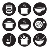 Soup icons set Stock Photography
