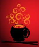 Soup illustration. Illustration of soup and chopsticks Royalty Free Stock Photo