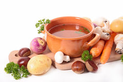 Soup and ingredient Royalty Free Stock Photography