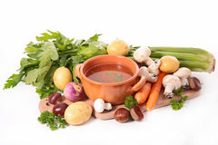 Soup and ingredient Stock Photo