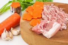 Soup ingredient. Such as carrot ,pork and fresh vegetables Royalty Free Stock Images