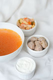Soup with ingredients Stock Images