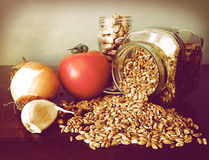 Soup ingredients:tomato,garlic,onion, beans,emmer Royalty Free Stock Image