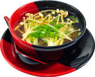 Soup. The Isolation japanese traditonal soup in the decorated container royalty free stock image