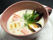 Soup , Japanese Food. In white plate on black background Stock Photo