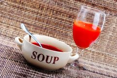 Soup and juice Royalty Free Stock Photography