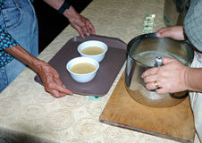 Soup kitchen volunteers 8. Serving the needy with sandwiches and soup at a local church Stock Images