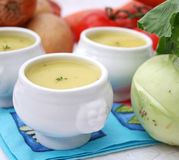 Soup of kohlrabi Stock Images
