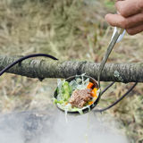 Soup ladle with meat and vegetables Royalty Free Stock Photo