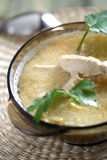 Soup with lemon and chicken stock photo