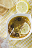 Soup, lemon and toasts Royalty Free Stock Photo