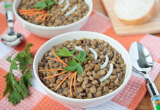 Soup of lentils with carrots Stock Photos
