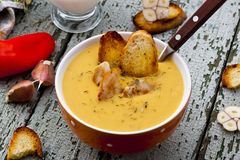 Lentil Cream Soup With Croutons Stock Photo - Image: 51641000