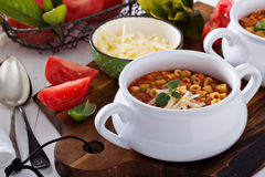 Soup with lentils, pasta and tomatoes Royalty Free Stock Image