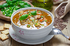 Soup with lentils and sausages Royalty Free Stock Photography
