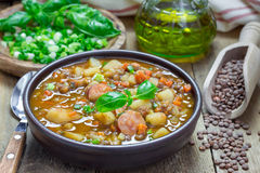 Soup with lentils and sausages Stock Photography
