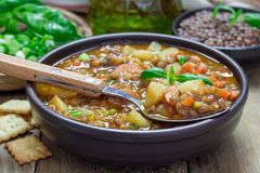 Soup with lentils and sausages Stock Images