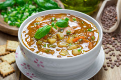 Soup with lentils and sausages Royalty Free Stock Photo