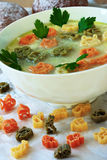 Soup and macaroni in the form of animals multicoloured Stock Images