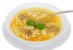 Soup with macaroni and meat Royalty Free Stock Image