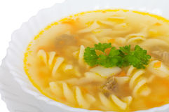 Soup with macaroni and meat Stock Photos