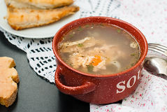 Soup made from fish. Ukha is a clear Russian soup, made from salmon Stock Photo