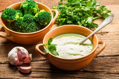 Soup made of fresh broccoli, garlic and parsley Stock Photo