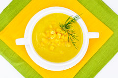 Soup of Mashed Potato with Corn Royalty Free Stock Photos