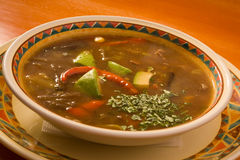 Soup with meat and avocado Stock Photography