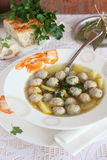 Soup with meat balls Royalty Free Stock Images
