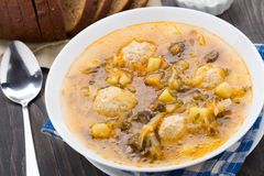 Soup with meat balls Stock Image