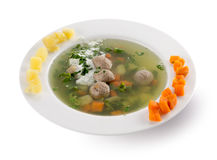 Soup with meat balls in plate Royalty Free Stock Photos