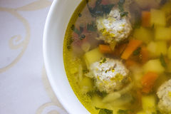 A soup with meat balls Royalty Free Stock Images
