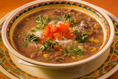 Soup with meat and beans Stock Images