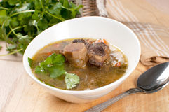 Soup with meat and bone and parsley. Horizontal stock photos