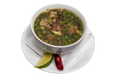Soup with meat of chicken and vegetables Stock Images