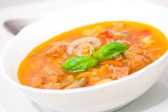 Soup with meat, mushrooms and vegetables Stock Photo