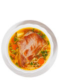 Soup with meat, pasta and vegetables. top view. isolated Royalty Free Stock Images