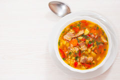 Soup with meat, rice and vegetables Stock Images