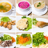 Soup, meat, salad and other food Royalty Free Stock Photo