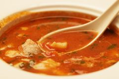 Soup with meat and vegetables Stock Image