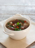 Soup with meat and vegetables Stock Images