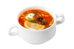 Soup with meat and vegetables Stock Photo